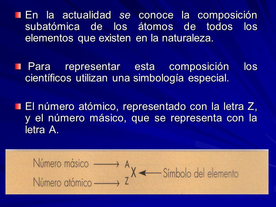En la actualidad se conoce la composición subatómica de los átomos de todos los elementos que existen en la naturaleza. Para representar esta composic