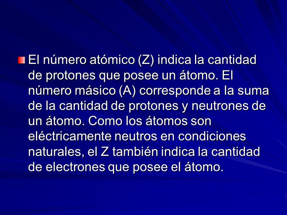 El número atómico (Z) indica la cantidad de protones que posee un átomo. El número másico (A) corresponde a la suma de la cantidad de protones y neutr