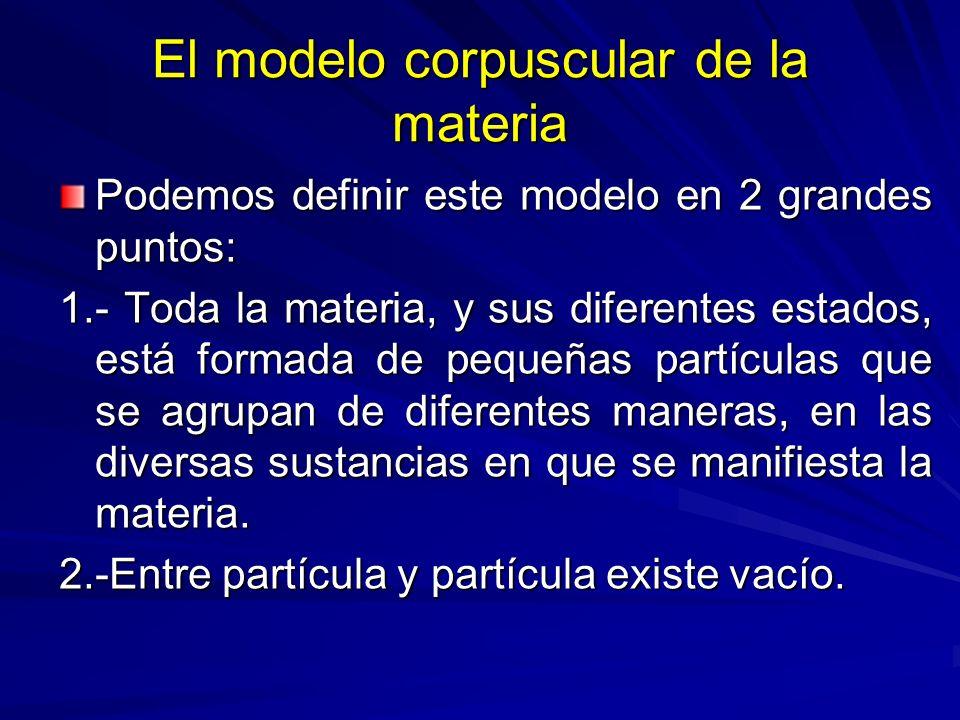 El modelo corpuscular de la materia Podemos definir este modelo en 2 grandes puntos: 1.- Toda la materia, y sus diferentes estados, está formada de pe