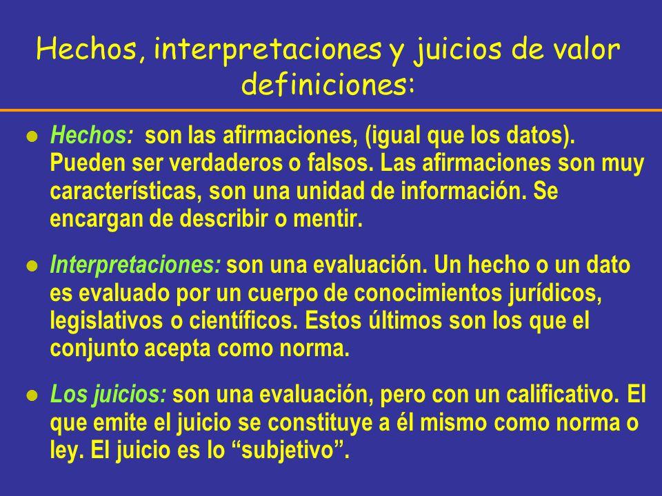 Hechos, interpretaciones y juicios de valor definiciones: l Hechos: son las afirmaciones, (igual que los datos). Pueden ser verdaderos o falsos. Las a