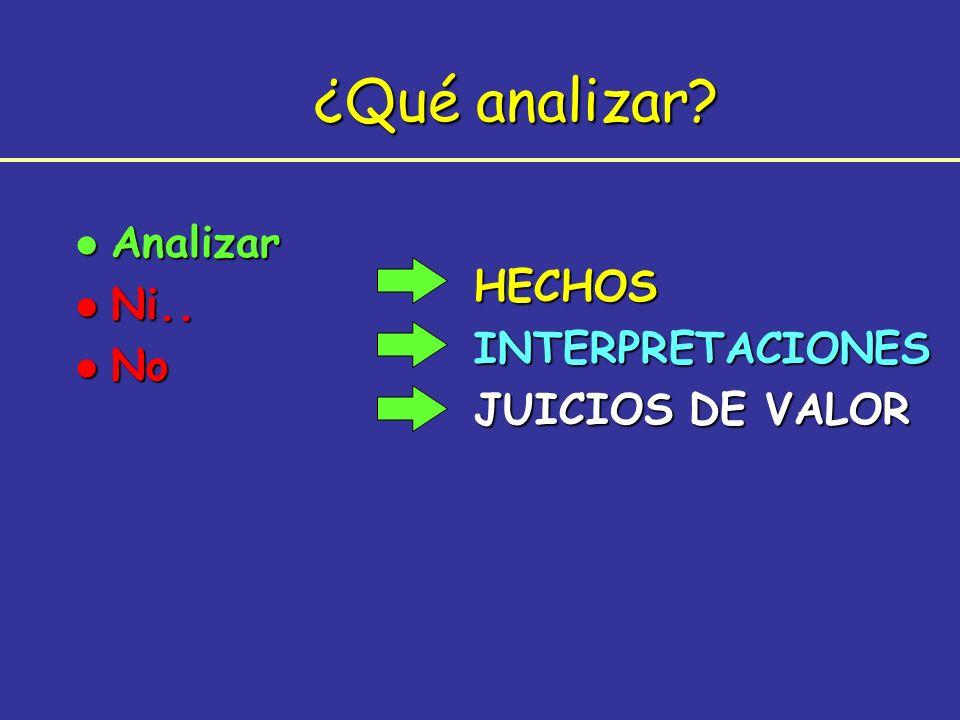 ¿Qué analizar? HECHOSINTERPRETACIONES JUICIOS DE VALOR l Analizar l Ni.. l No