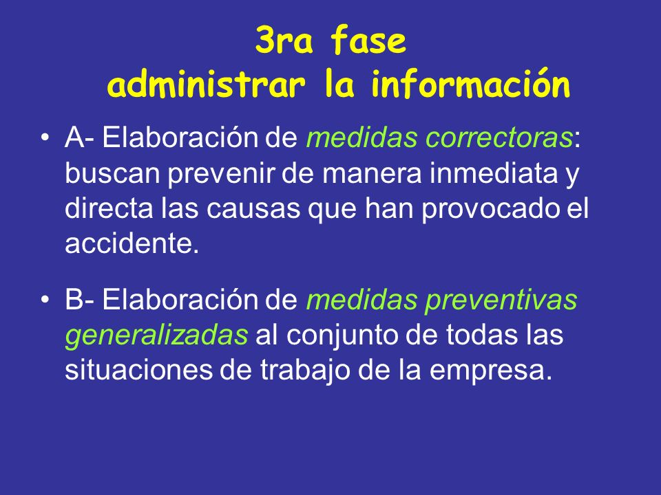 3ra fase administrar la información A- Elaboración de medidas correctoras: buscan prevenir de manera inmediata y directa las causas que han provocado