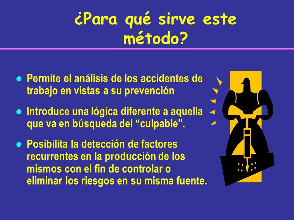 l Permite el análisis de los accidentes de trabajo en vistas a su prevención l Introduce una lógica diferente a aquella que va en búsqueda del culpabl