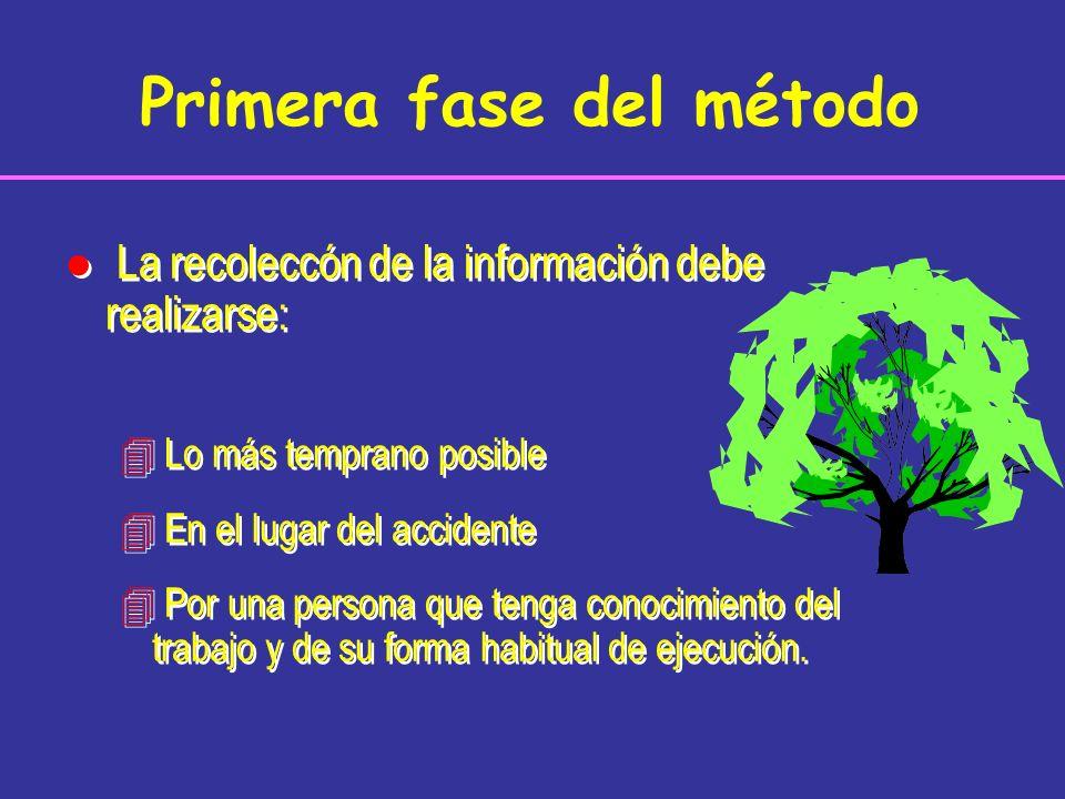 Primera fase del método l La recoleccón de la información debe realizarse: 4 Lo más temprano posible 4 En el lugar del accidente 4 Por una persona que