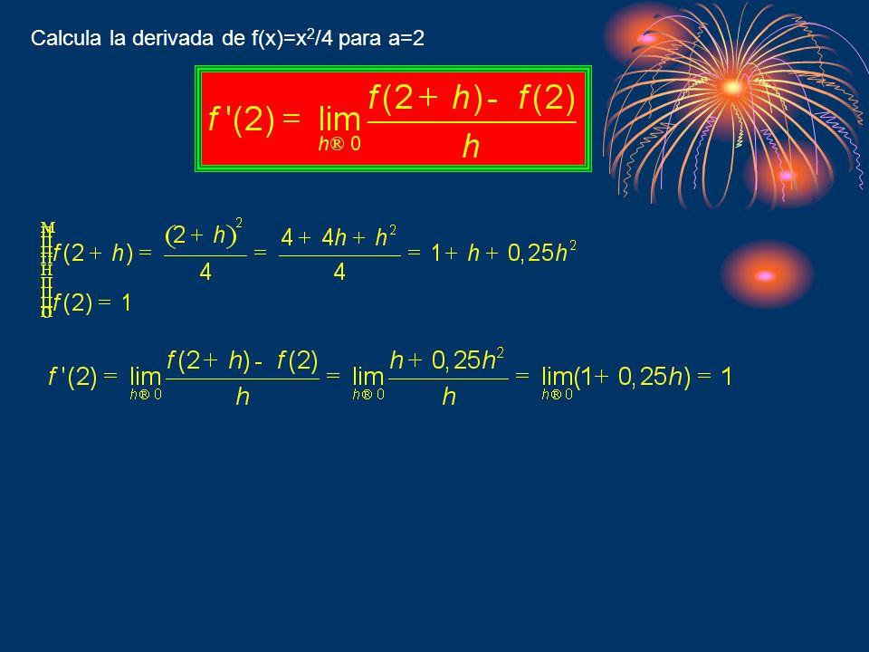 Calcula la derivada de f(x)=x 2 /4 para a=2