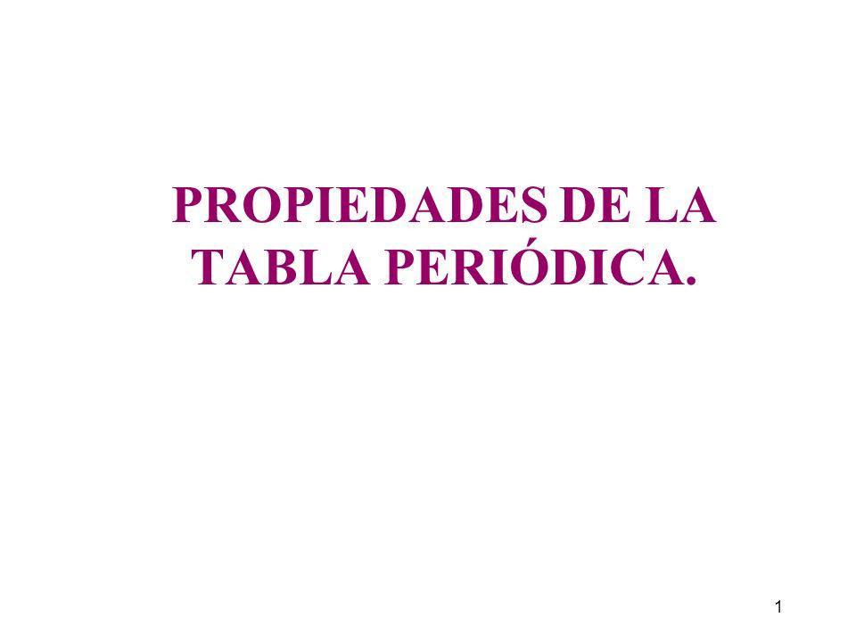 1 PROPIEDADES DE LA TABLA PERIÓDICA.