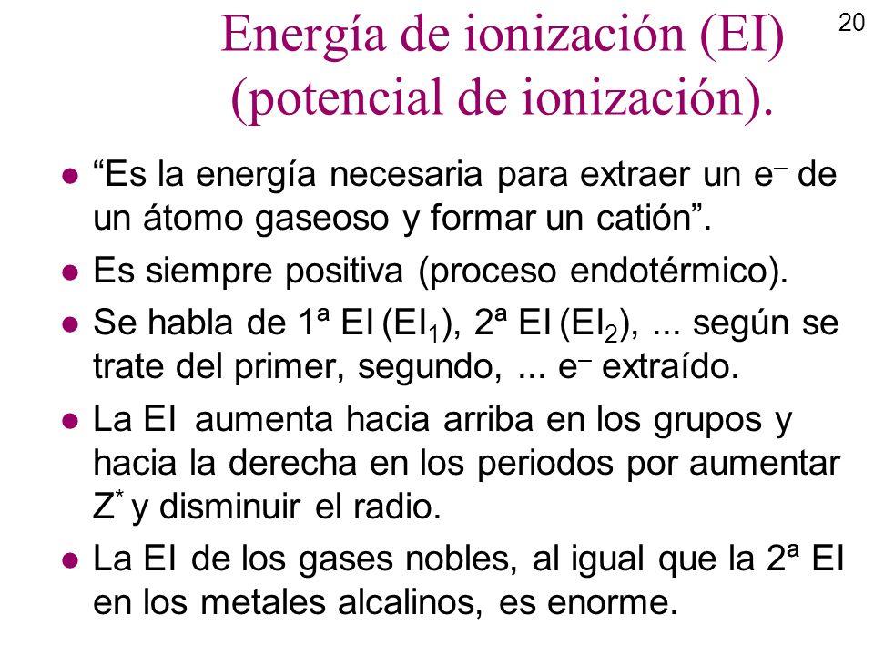 20 Energía de ionización (EI) (potencial de ionización). l Es la energía necesaria para extraer un e – de un átomo gaseoso y formar un catión. l Es si