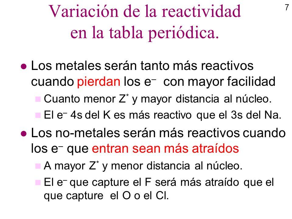 7 Variación de la reactividad en la tabla periódica. l Los metales serán tanto más reactivos cuando pierdan los e – con mayor facilidad n Cuanto menor