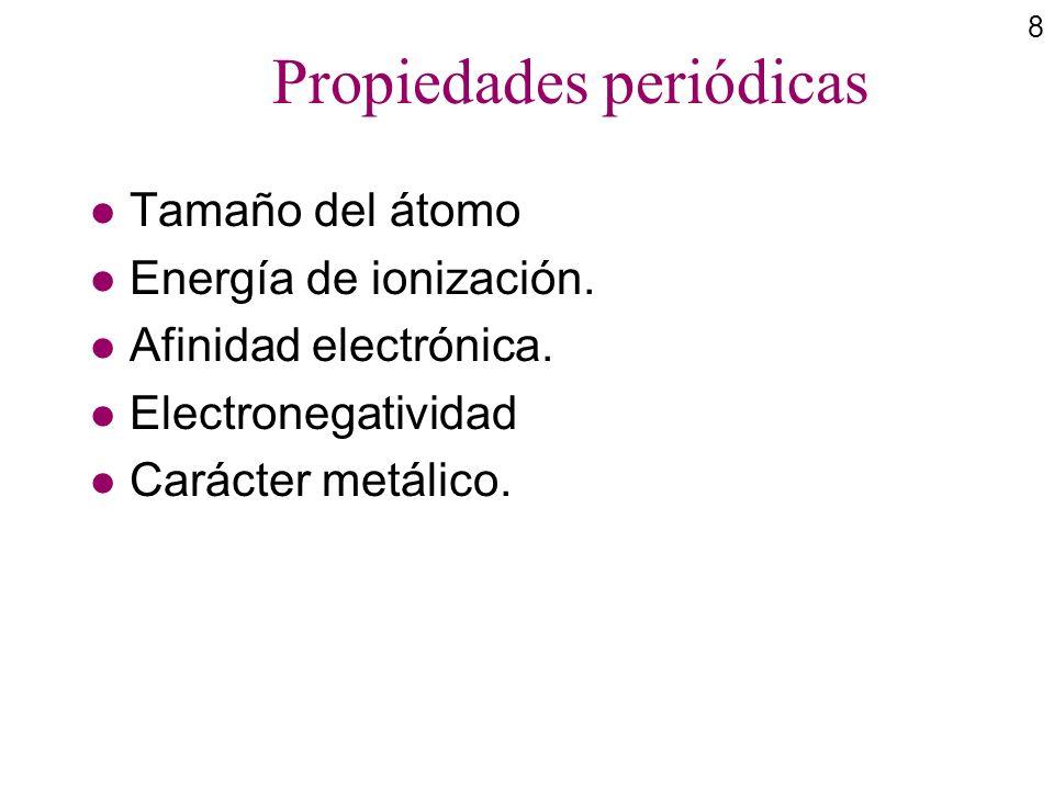 8 Propiedades periódicas l Tamaño del átomo l Energía de ionización. l Afinidad electrónica. l Electronegatividad l Carácter metálico.