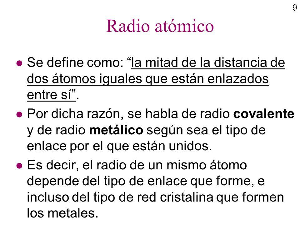 9 Radio atómico l Se define como: la mitad de la distancia de dos átomos iguales que están enlazados entre sí. l Por dicha razón, se habla de radio co