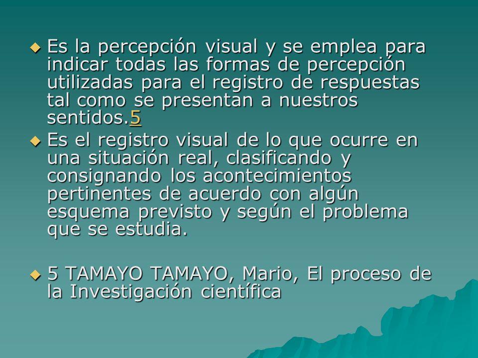 Es la percepción visual y se emplea para indicar todas las formas de percepción utilizadas para el registro de respuestas tal como se presentan a nues