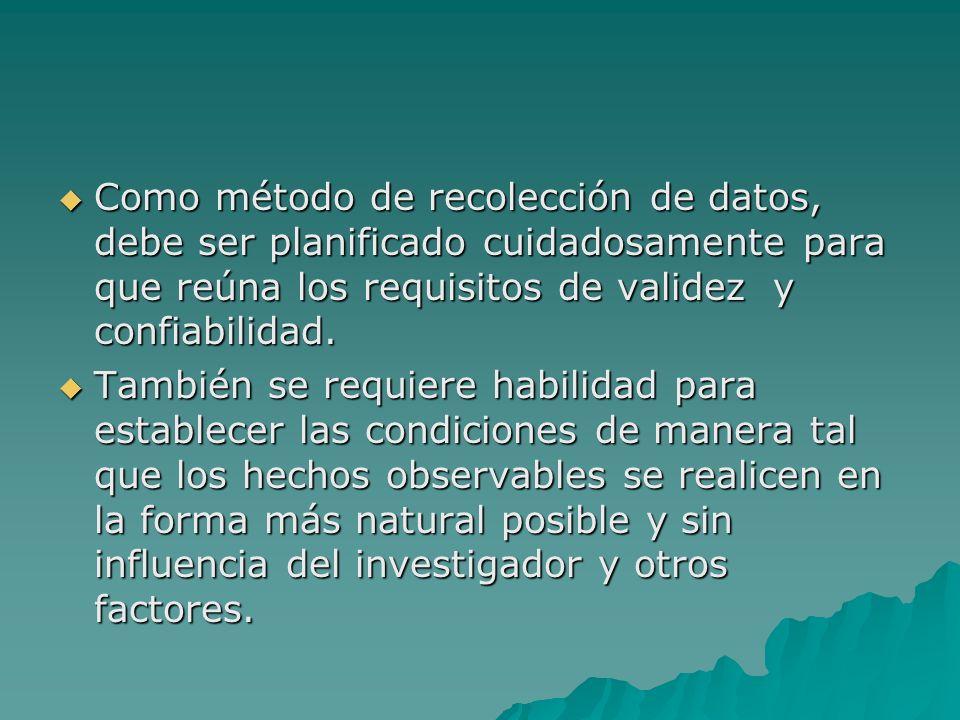 Como método de recolección de datos, debe ser planificado cuidadosamente para que reúna los requisitos de validez y confiabilidad. Como método de reco