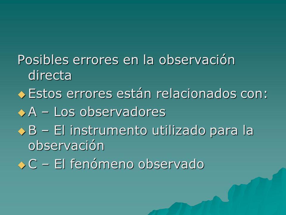 Posibles errores en la observación directa Estos errores están relacionados con: Estos errores están relacionados con: A – Los observadores A – Los ob