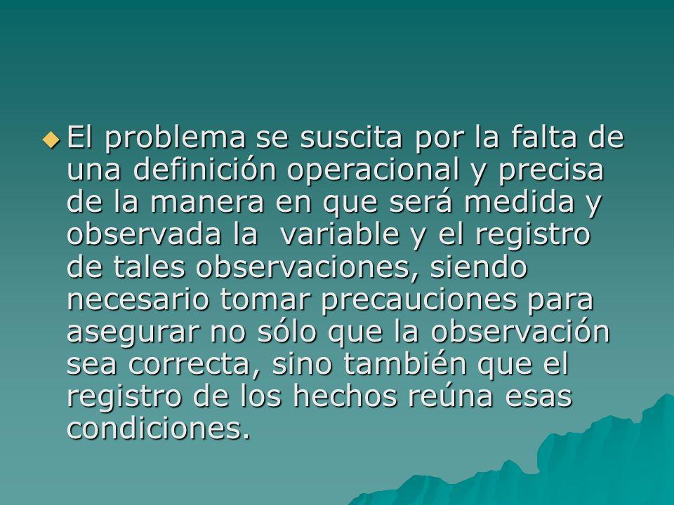 El problema se suscita por la falta de una definición operacional y precisa de la manera en que será medida y observada la variable y el registro de t