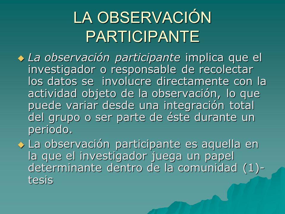 LA OBSERVACIÓN PARTICIPANTE La observación participante implica que el investigador o responsable de recolectar los datos se involucre directamente co