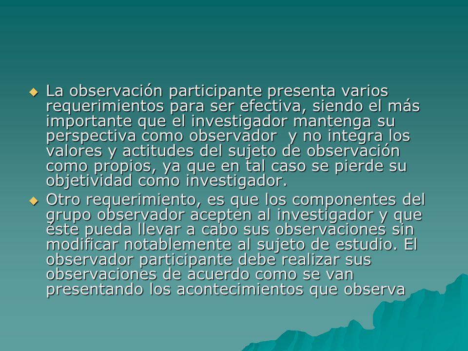 La observación participante presenta varios requerimientos para ser efectiva, siendo el más importante que el investigador mantenga su perspectiva com