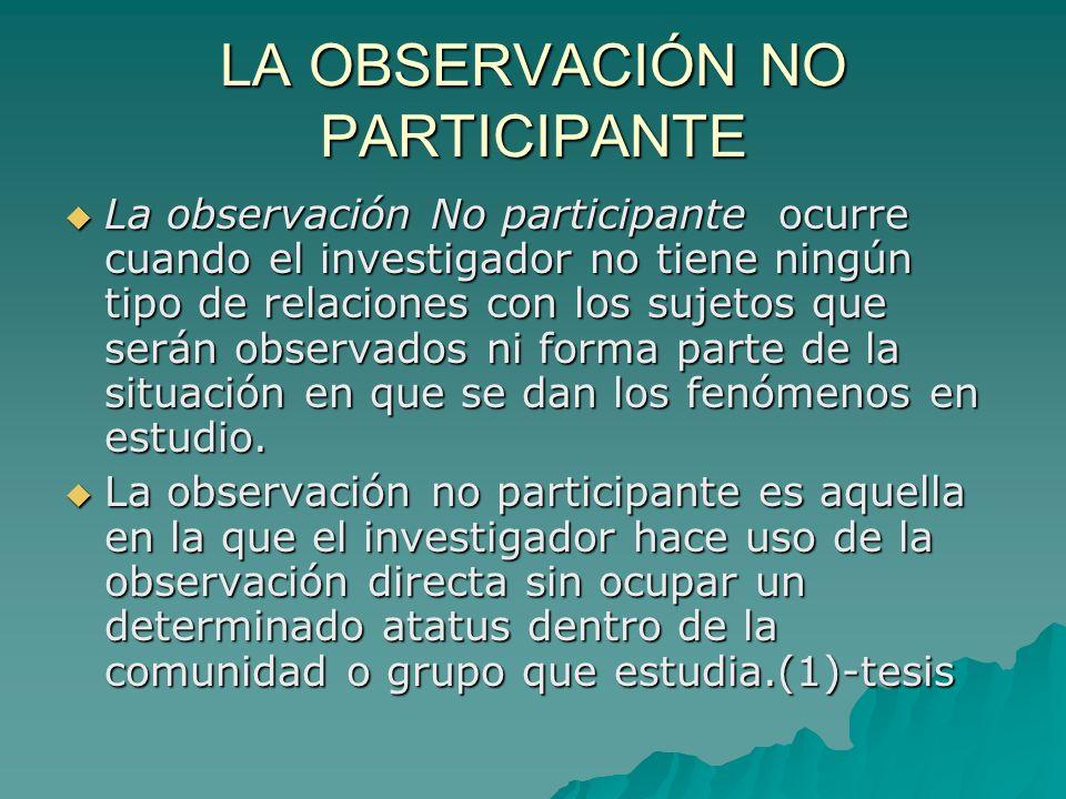 LA OBSERVACIÓN NO PARTICIPANTE La observación No participante ocurre cuando el investigador no tiene ningún tipo de relaciones con los sujetos que ser