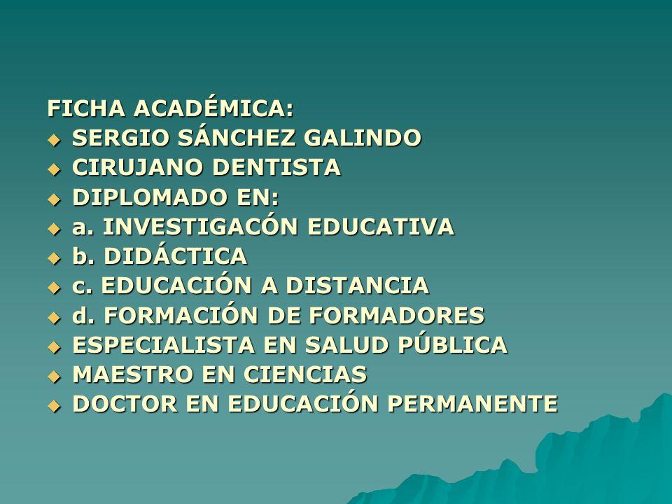 FICHA ACADÉMICA: SERGIO SÁNCHEZ GALINDO SERGIO SÁNCHEZ GALINDO CIRUJANO DENTISTA CIRUJANO DENTISTA DIPLOMADO EN: DIPLOMADO EN: a. INVESTIGACÓN EDUCATI