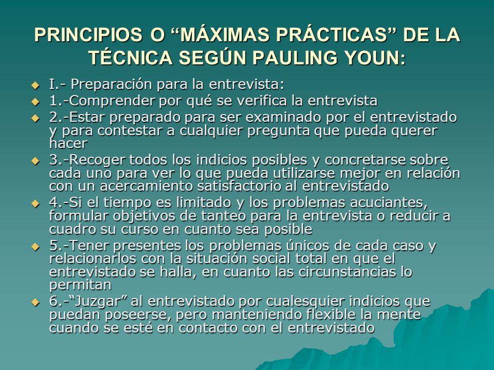 PRINCIPIOS O MÁXIMAS PRÁCTICAS DE LA TÉCNICA SEGÚN PAULING YOUN: I.- Preparación para la entrevista: I.- Preparación para la entrevista: 1.-Comprender