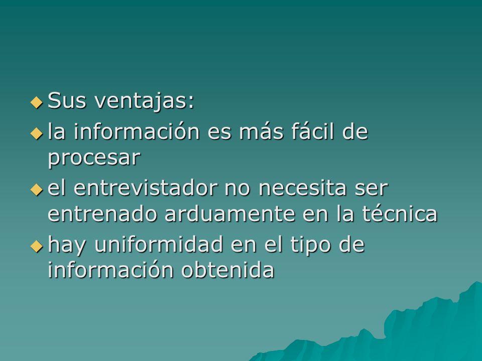 Sus ventajas: Sus ventajas: la información es más fácil de procesar la información es más fácil de procesar el entrevistador no necesita ser entrenado