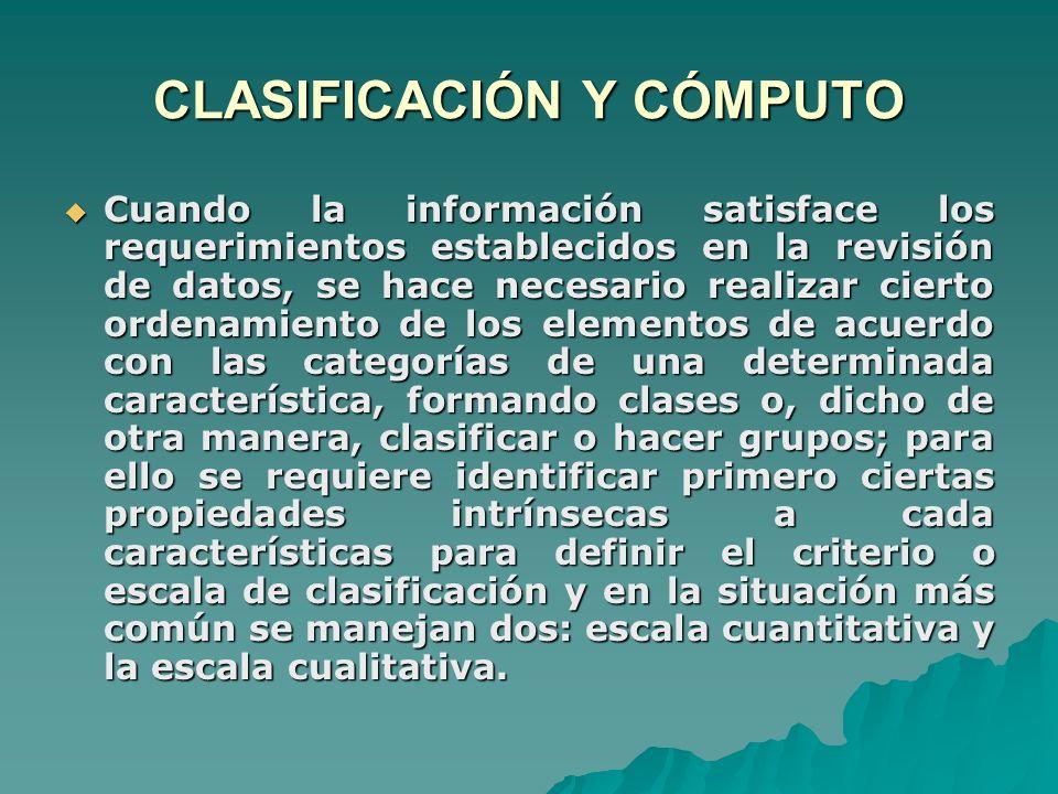 CLASIFICACIÓN Y CÓMPUTO Cuando la información satisface los requerimientos establecidos en la revisión de datos, se hace necesario realizar cierto ord
