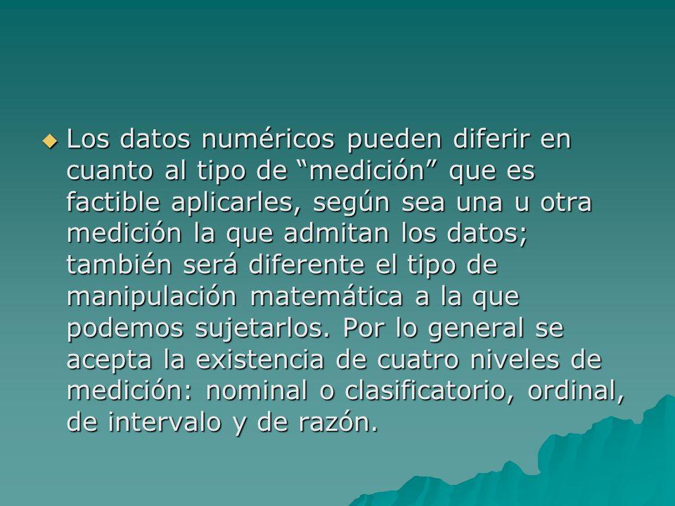 Los datos numéricos pueden diferir en cuanto al tipo de medición que es factible aplicarles, según sea una u otra medición la que admitan los datos; t
