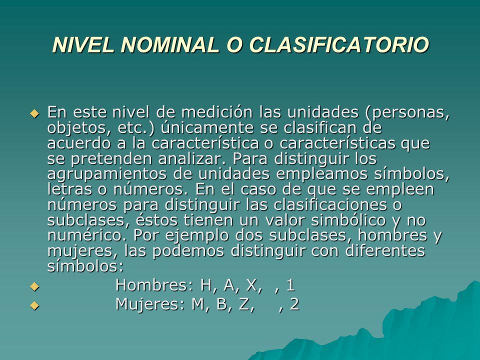 NIVEL NOMINAL O CLASIFICATORIO En este nivel de medición las unidades (personas, objetos, etc.) únicamente se clasifican de acuerdo a la característic