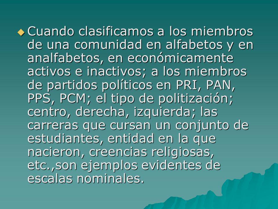 Cuando clasificamos a los miembros de una comunidad en alfabetos y en analfabetos, en económicamente activos e inactivos; a los miembros de partidos p
