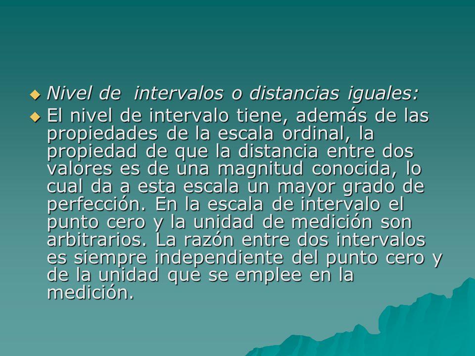 Nivel de intervalos o distancias iguales: Nivel de intervalos o distancias iguales: El nivel de intervalo tiene, además de las propiedades de la escal