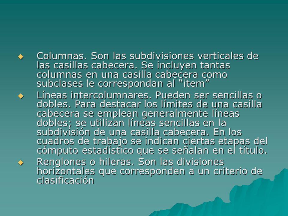Columnas. Son las subdivisiones verticales de las casillas cabecera. Se incluyen tantas columnas en una casilla cabecera como subclases le corresponda