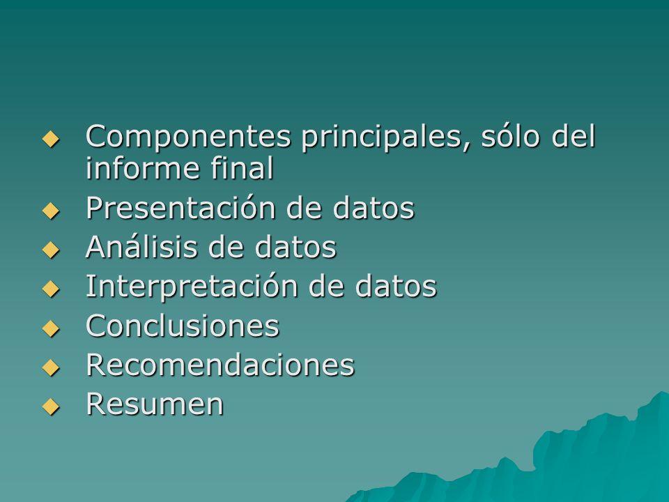 Componentes principales, sólo del informe final Componentes principales, sólo del informe final Presentación de datos Presentación de datos Análisis d