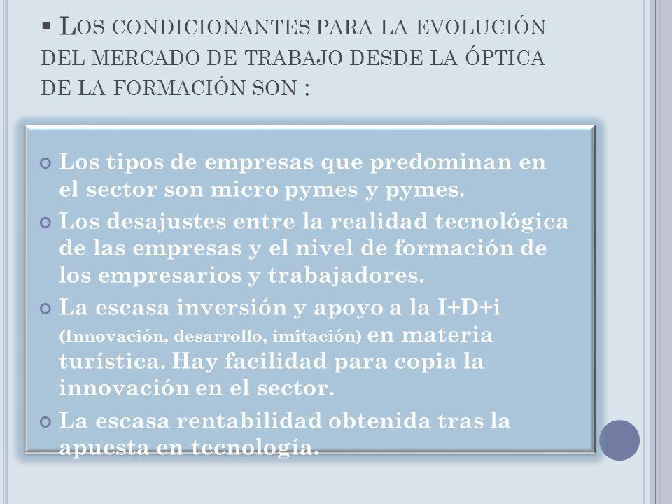 L OS CONDICIONANTES PARA LA EVOLUCIÓN DEL MERCADO DE TRABAJO DESDE LA ÓPTICA DE LA FORMACIÓN SON : Los tipos de empresas que predominan en el sector s