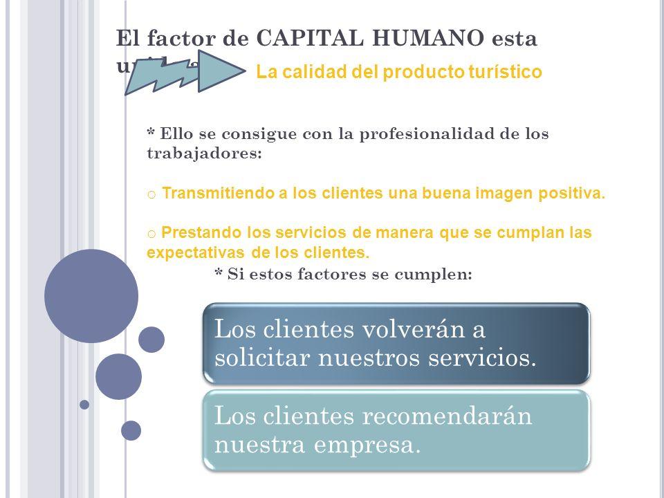 El factor de CAPITAL HUMANO esta unido a: La calidad del producto turístico * Ello se consigue con la profesionalidad de los trabajadores: o Transmiti