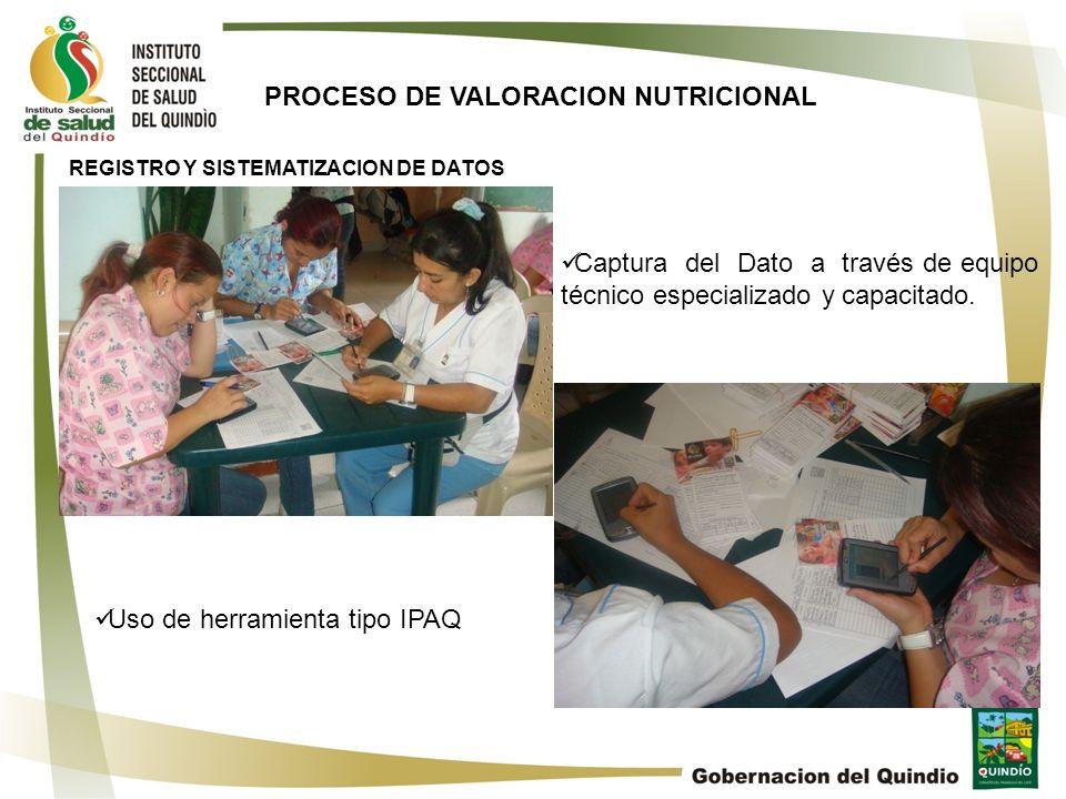 PROCESO DE VALORACION NUTRICIONAL REGISTRO Y SISTEMATIZACION DE DATOS Captura del Dato a través de equipo técnico especializado y capacitado. Uso de h