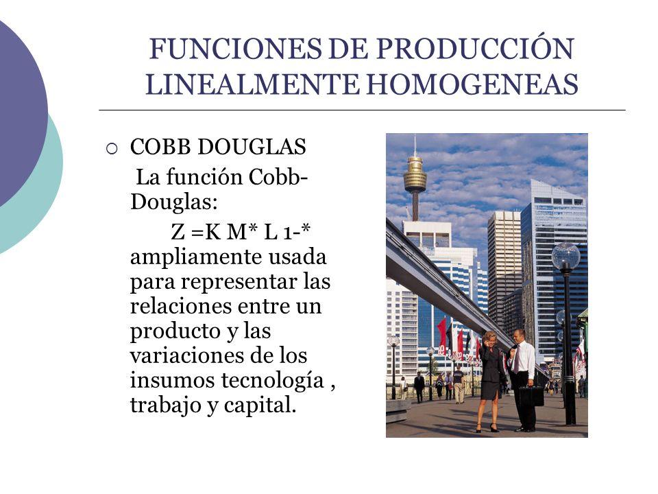 FUNCIONES DE PRODUCCIÓN LINEALMENTE HOMOGENEAS COBB DOUGLAS La función Cobb- Douglas: Z =K M* L 1-* ampliamente usada para representar las relaciones