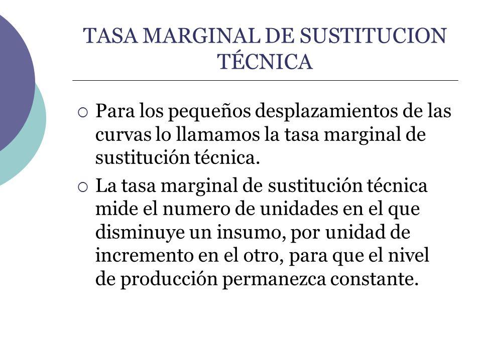 TASA MARGINAL DE SUSTITUCION TÉCNICA Para los pequeños desplazamientos de las curvas lo llamamos la tasa marginal de sustitución técnica. La tasa marg