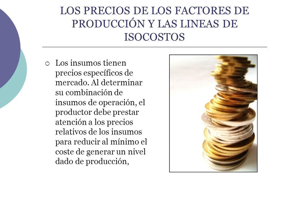 LOS PRECIOS DE LOS FACTORES DE PRODUCCIÓN Y LAS LINEAS DE ISOCOSTOS Los insumos tienen precios específicos de mercado. Al determinar su combinación de
