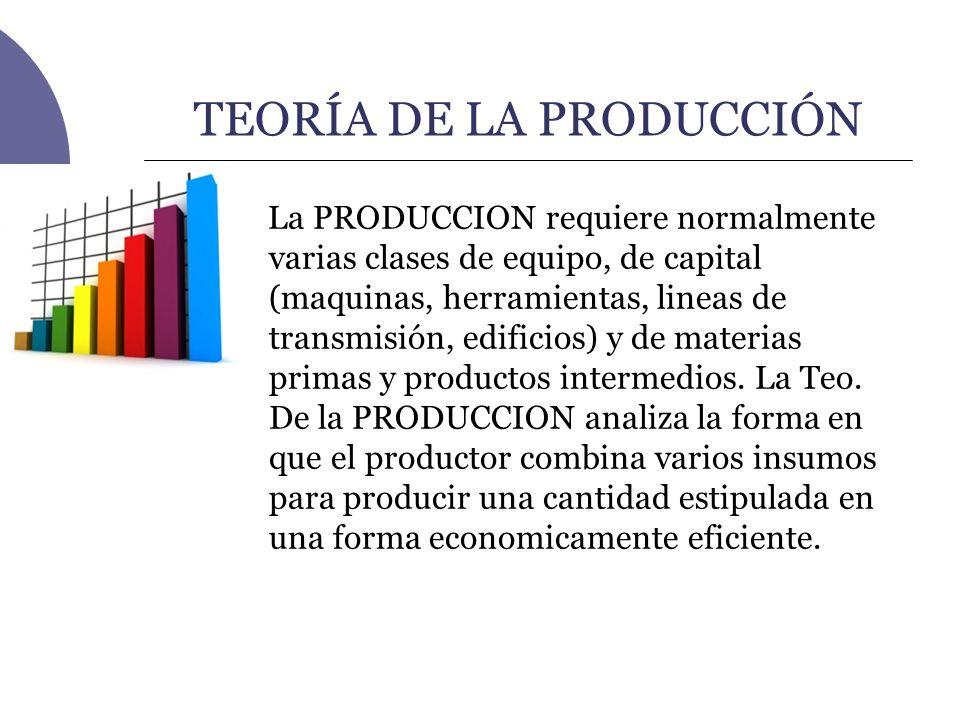 TEORÍA DE LA PRODUCCIÓN La PRODUCCION requiere normalmente varias clases de equipo, de capital (maquinas, herramientas, lineas de transmisión, edifici