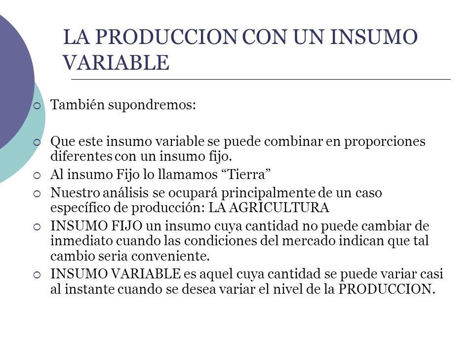 LA PRODUCCION CON UN INSUMO VARIABLE También supondremos: Que este insumo variable se puede combinar en proporciones diferentes con un insumo fijo. Al
