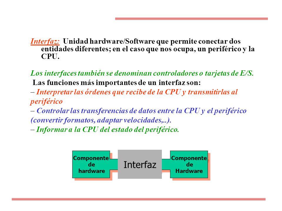 Interfaz: Unidad hardware/Software que permite conectar dos entidades diferentes; en el caso que nos ocupa, un periférico y la CPU. Los interfaces tam
