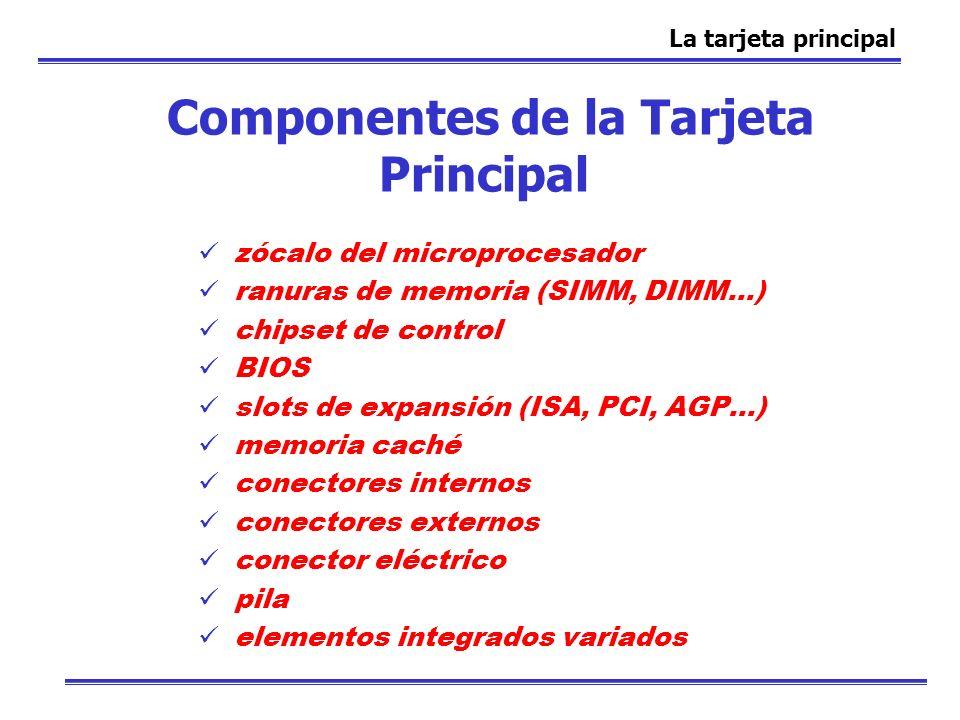 Componentes de la Tarjeta Principal zócalo del microprocesador ranuras de memoria (SIMM, DIMM...) chipset de control BIOS slots de expansión (ISA, PCI