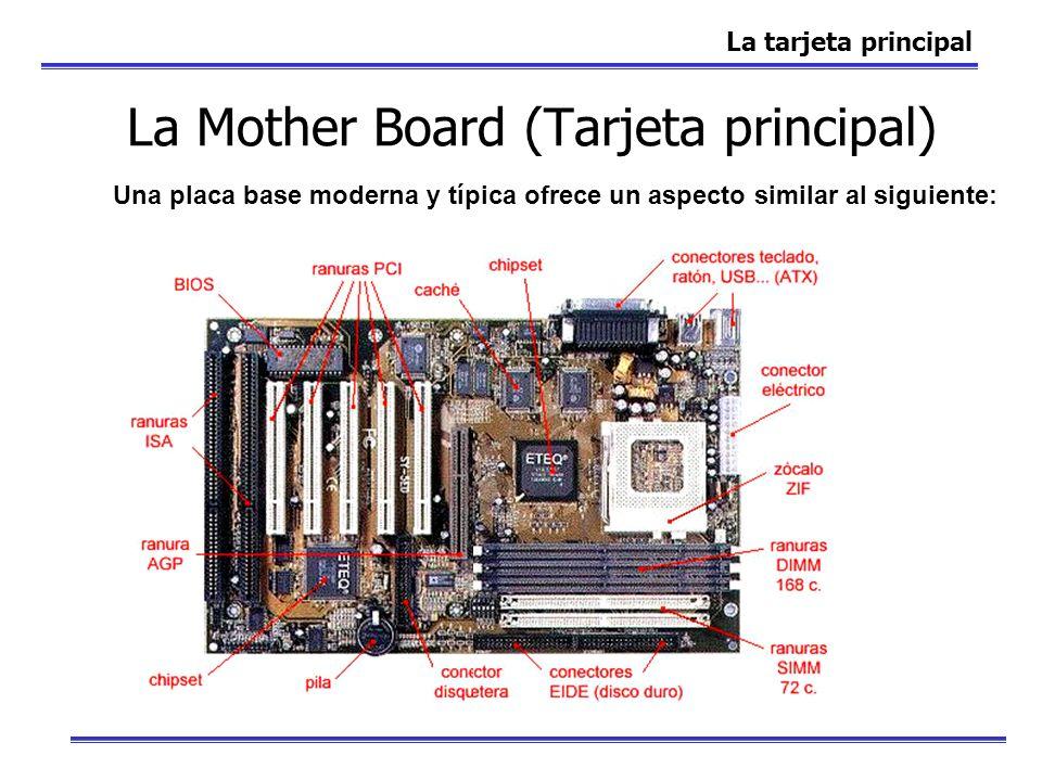 La Mother Board (Tarjeta principal) La tarjeta principal Una placa base moderna y típica ofrece un aspecto similar al siguiente: