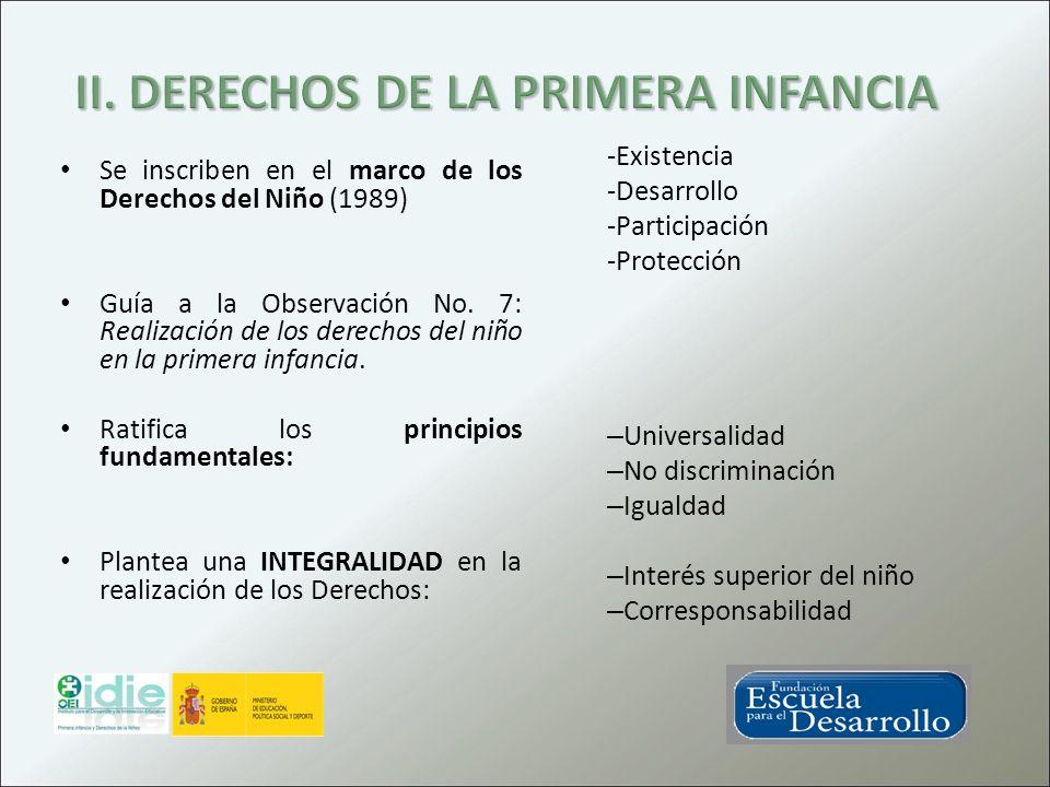 Se inscriben en el marco de los Derechos del Niño (1989) Guía a la Observación No. 7: Realización de los derechos del niño en la primera infancia. Rat
