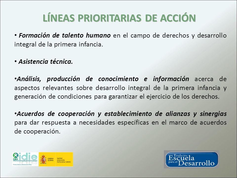 LÍNEAS PRIORITARIAS DE ACCIÓN Formación de talento humano en el campo de derechos y desarrollo integral de la primera infancia. Asistencia técnica. An