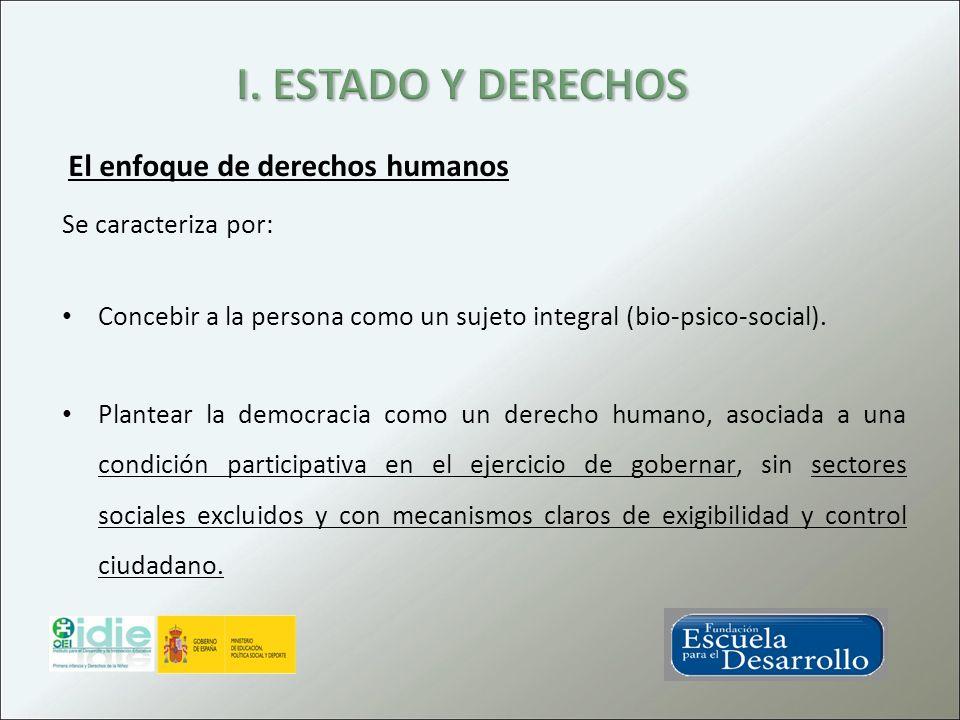 Se caracteriza por: Concebir a la persona como un sujeto integral (bio-psico-social). Plantear la democracia como un derecho humano, asociada a una co