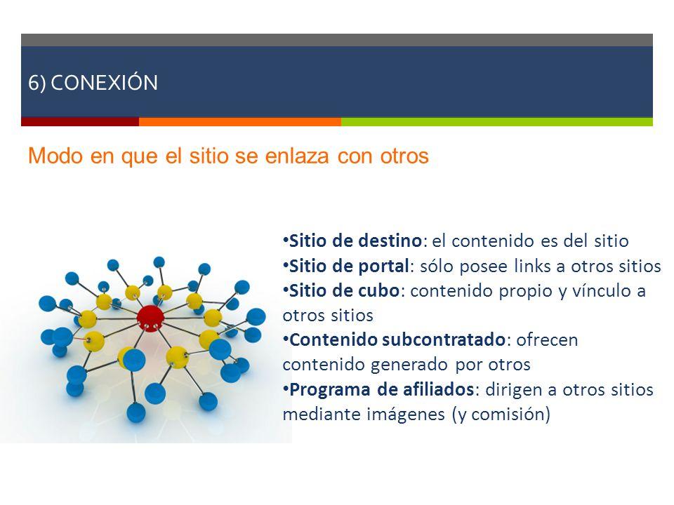 6) CONEXIÓN Modo en que el sitio se enlaza con otros Sitio de destino: el contenido es del sitio Sitio de portal: sólo posee links a otros sitios Siti