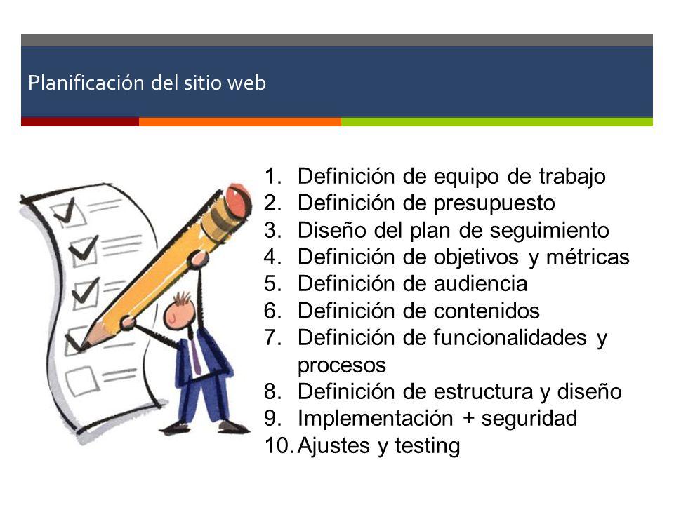 Planificación del sitio web 1.Definición de equipo de trabajo 2.Definición de presupuesto 3.Diseño del plan de seguimiento 4.Definición de objetivos y