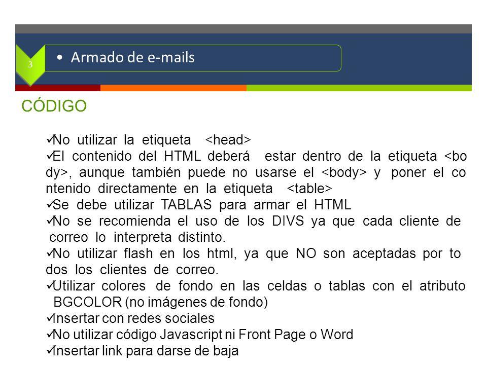 . CÓDIGO No utilizar la etiqueta El contenido del HTML deberá estar dentro de la etiqueta, aunque también puede no usarse el y poner el co ntenido dir