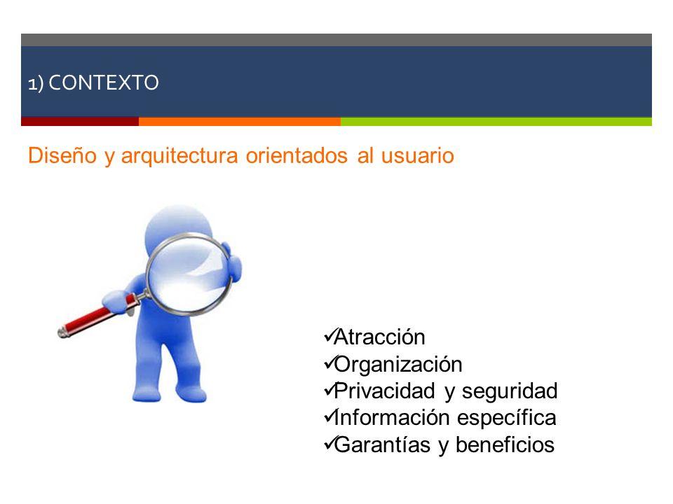 1) CONTEXTO Diseño y arquitectura orientados al usuario Atracción Organización Privacidad y seguridad Información específica Garantías y beneficios