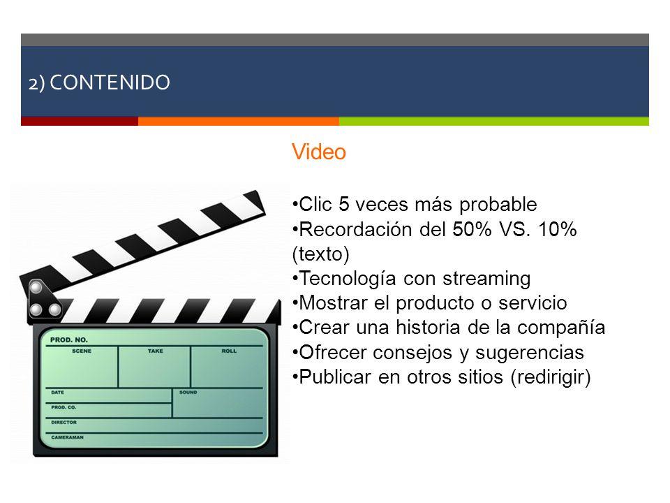 2) CONTENIDO Video Clic 5 veces más probable Recordación del 50% VS. 10% (texto) Tecnología con streaming Mostrar el producto o servicio Crear una his
